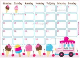 Juli 2020 kalender serie Kawaii