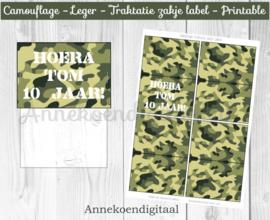 Camouflage traktatie zakje label