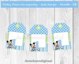 Mickey Mouse 1ste verjaardag Bedank kaartjes