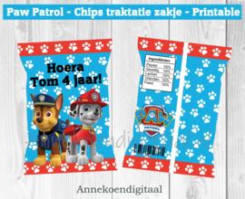 Paw Patrol chips traktatie zakje blauw