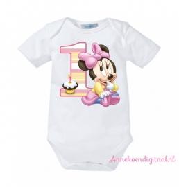 Strijkapplicatie Minnie Mouse 1ste verjaardag