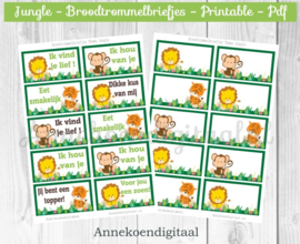 Broodtrommelbriefjes thema Jungle