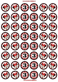 Minnie Mouse Polka Dots traktatie toppers mini