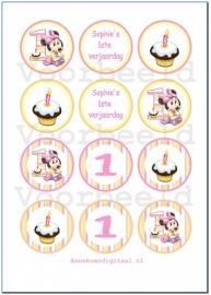 Minnie Mouse 1ste verjaardag toppers rond