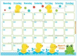 Maart 2020 kalender thema Dieren