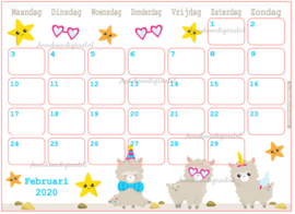 Februari 2020 kalender serie Kawaii
