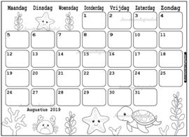 Augustus 2019 kalender thema Kleurplaat