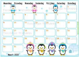 Babyshower maandkalender thema Pinguïns