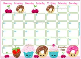 Augustus 2020 kalender serie Kawaii