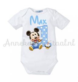 Strijkapplicatie Mickey Mouse 1ste verjaardag