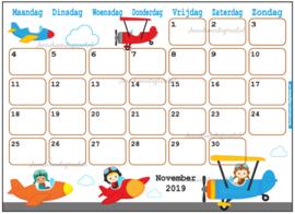 Babyshower maandkalender thema Vliegtuigen