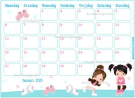 Januari 2020 kalender serie Meisjes