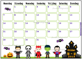 Oktober 2019 kalender serie Jongens