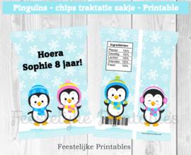 Pinguïns chips traktatie zakje