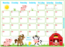 Babyshower maandkalender thema Boerderij