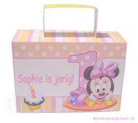 Minnie Mouse 1ste verjaardag traktatie koffertje