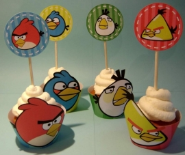 Angry Birds Cupcake wrapper met Cupcake topper