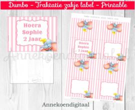 Dumbo traktatie zakje label Roze