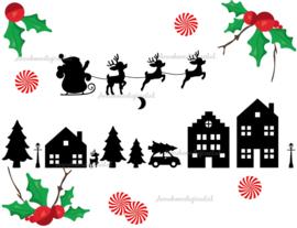 Kerst huisjes silhouette