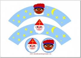 Sinterklaas Cupcake wrapper Sint en Piet