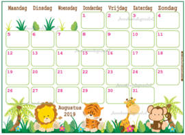 Babyshower maandkalender thema Jungle Roze