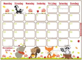 November 2019 kalender thema Dieren