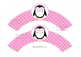 Pinguin meisje Cupcake wrapper roze stippen