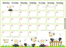 April 2020 kalender serie Kawaii