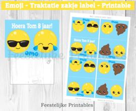 Emoji traktatie zakje label