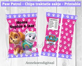 Paw Patrol chips traktatie zakje roze