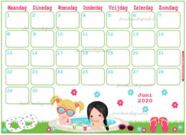 Juni 2020 kalender serie Meisjes