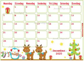 December 2020 kalender serie Dieren
