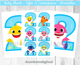 Baby Shark cijfer Centerpieces