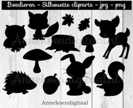 Bosdieren silhouette cliparts