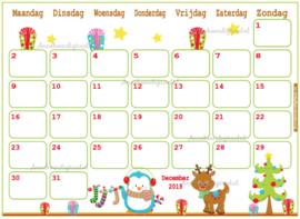 December 2019 kalender thema Dieren
