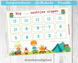 Kampeervakantie aftelkalender