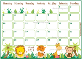 Babyshower maandkalender thema Jungle Groen