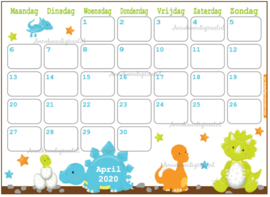 April 2020 kalender thema Dieren