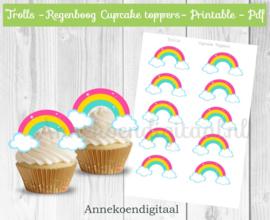 Regenboog cupcake toppers