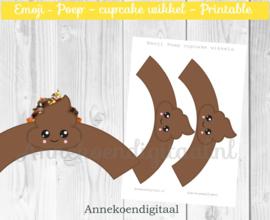 Emoji Poep cupcake wikkels