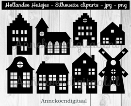 Hollandse Huisjes silhouette cliparts