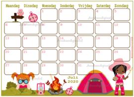 Juli 2020 kalender serie Meisjes