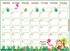 Babyshower maandkalender thema Jungle Roze