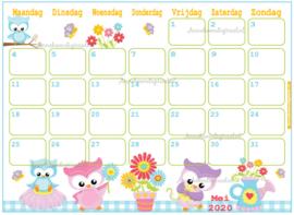 Mei 2020 kalender serie Dieren
