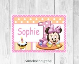 Minnie Mouse 1ste verjaardag Deur poster