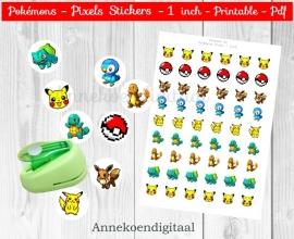Pokemon Pixel 1 inch plaatjes