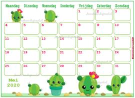 Mei 2020 kalender serie Kawaii