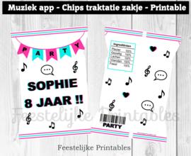 Muziek app chips traktatie zakje wit