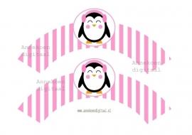 Pinguin meisje Cupcake wrapper roze streepje