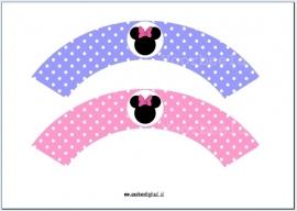Minnie Mouse Cupcake wrapper roze en violet